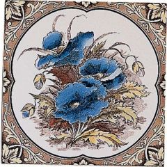 Original Style Blue Poppies Single Decor Tile