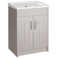 Astley Stone Grey 600mm Floor Standing Unit & Ceramic Basin