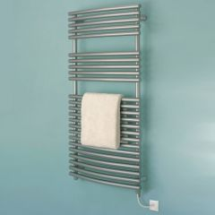 Bisque Bow Fronted Electric Towel Radiator