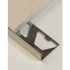 Brushed Stainless Steel Square Edge Tile Trim 2.5m