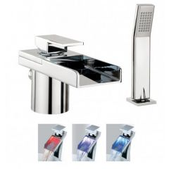 Crosswater Water Square Lights Deck Mounted Bath Shower Mixer Tap With Kit