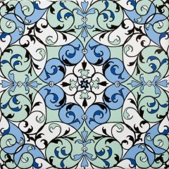 Fes Dark Floral Decor Tile 20 x 20cm