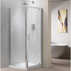 Genesis Pivot Shower Door (shown with side panel)