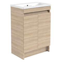 Ikon Natural Oak 600mm Floor Standing Door Unit With Basin