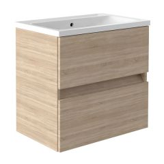 Ikon Natural Oak 600mm Wall Mounted Drawer Unit With Basin