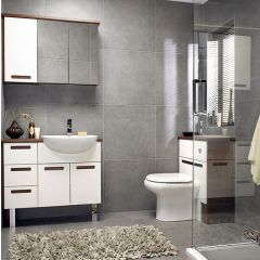 Mereway Strada White/Walnut Combination Bathroom