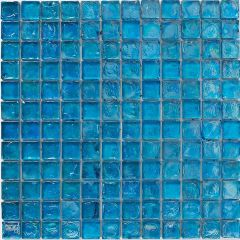 Mosaics Blue Hammered Glass 30.5 x 30.5cm