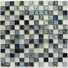 Mosaics Hammered Glass Shades of Grey Mix 30.5 x 30.5cm