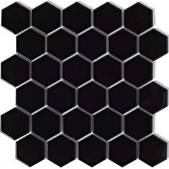 Mosaics Hexagon Porcelain Black 30 x 30cm