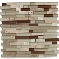 Mosaics Natural Linear Glass & Stone Mix 30 x 30cm