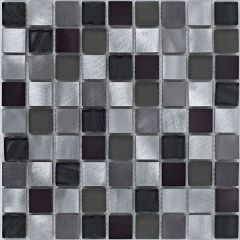 Mosaics Silver Metal & Glass Mix 30.5 x 30.5cm