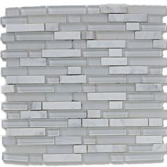 Mosaics White Linear Glass & Stone Mix 30.5 x 30.5cm