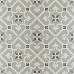 Odyssey Epoque White & Dark Grey on Grey, pattern repeat