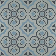 Odyssey Knightshayes Dark Blue & Light Blue on Grey, pattern repeat