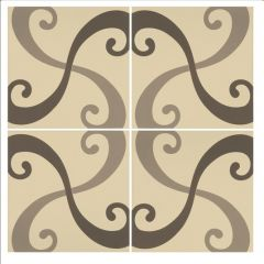 Odyssey Arabesque Light Grey and Dark Grey on White (2 Tile Set) 15.1 x 15.1cm