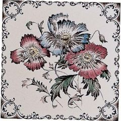 Original Style Poppies Scroll border Single Decor Tile