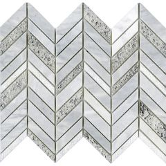 Porcelanosa Constellation Chevron White Mosaic 25.2 x 30.4cm