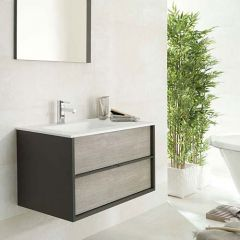 Porcelanosa Folk Ice Wall Mounted Wash Basin Unit 80cm