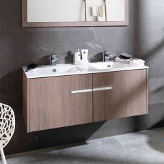 Porcelanosa Urban Roble Root Wash Basin Unit (Twin Basins) 120cm