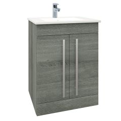 Purity Grey Ash 600mm Floor Standing Door Unit With Basin