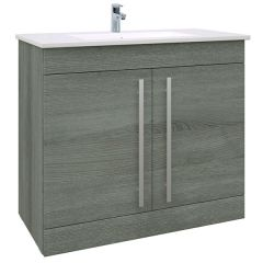 Purity Grey Ash 900mm Floor Standing Door Unit With Basin