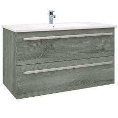 Purity Grey Ash 900mm Wall Mounted Drawer Unit With Basin