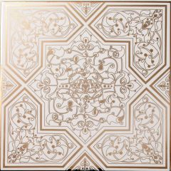 Rabat Gold On White Decor Tile 20 x 20cm