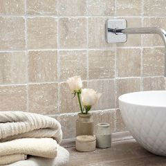 VN White Tumbled Travertine Wall Tile 10 x10cm