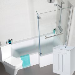 Tetris Square Shaped Shower Bath (Right Hand Bath)