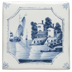 Winchester Classic Ship and House Delft Scene 12.7 x 12.7cm