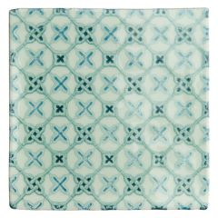 Winchester Residence Ormeaux Blue on Mint 13 x 13cm