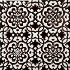 Zagora Black Floral Decor Tile 20 x 20cm