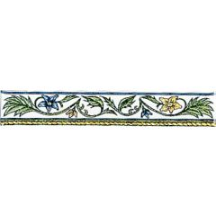 Original Style Floral Rope Blue & Yellow Border Tile