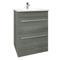 Purity Grey Ash 600mm Floor Standing Drawer Unit With Basin