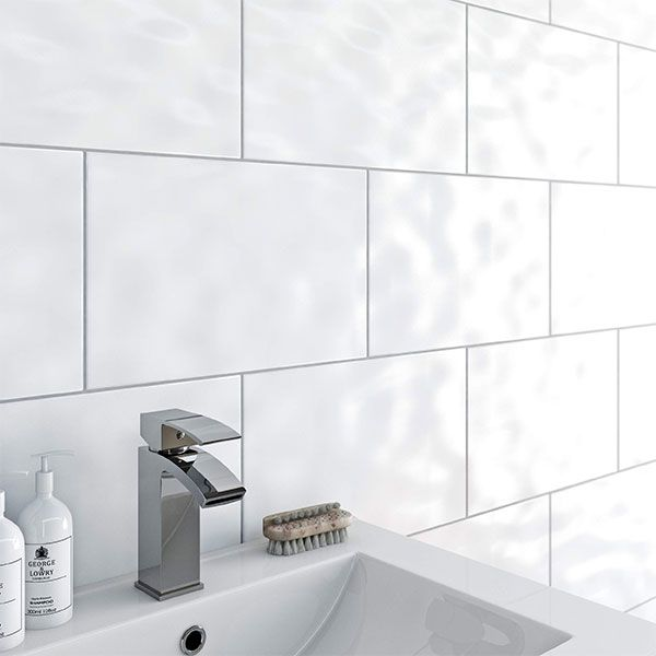 Bumpy White Gloss Ceramic Wall Tile 25 X 33cm Tiles And Bathrooms Online