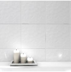 Bumpy White Gloss Ceramic Wall Tile 20 x 20cm