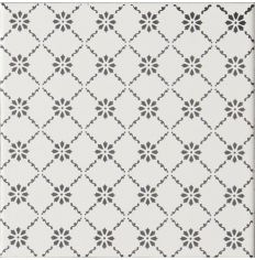Odyssey Floral Trellis Grey on Brilliant White 15.2 x 15.2cm