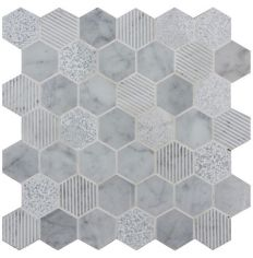Original Style Cirrus Large Stone Hexagon Mosaic 30.3 x 29.8cm