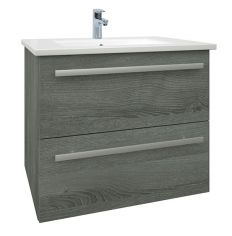 Purity Grey Ash 600mm Wall Mounted Drawer Unit With Basin