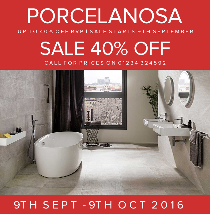 Porcelanosa 40 off sale 9th september 9th october for Porcelanosa bathrooms prices
